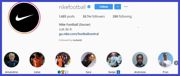 Akun Instagram Nike optimasi akun bisnis Instagram