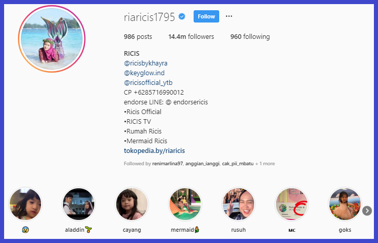 Akun bisnis di Instagram Ria Ricis