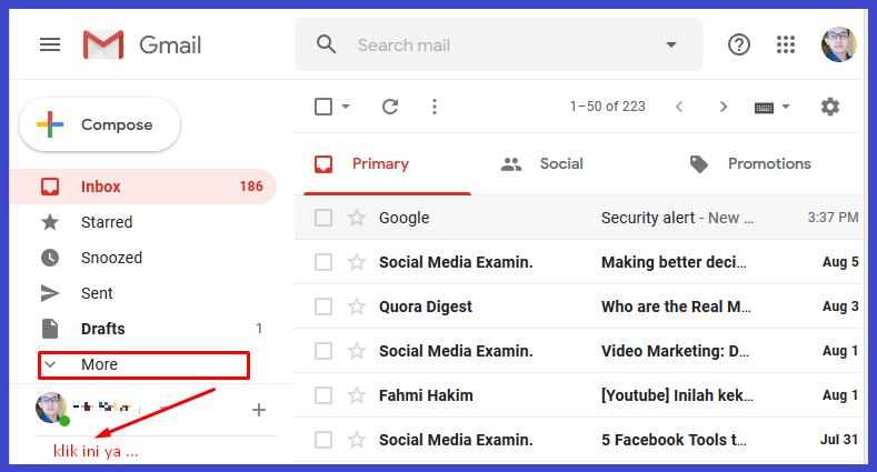 cara melihat spam di email