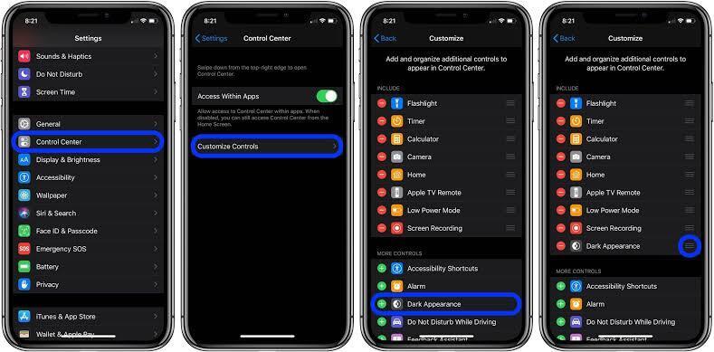 Cara iOS Dark Mode Setting