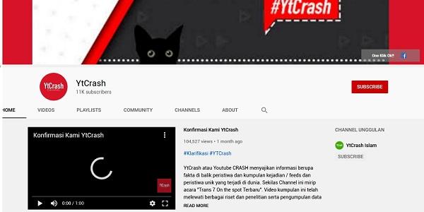 Kontroversi YTCrash Dihapus Video dan Akun